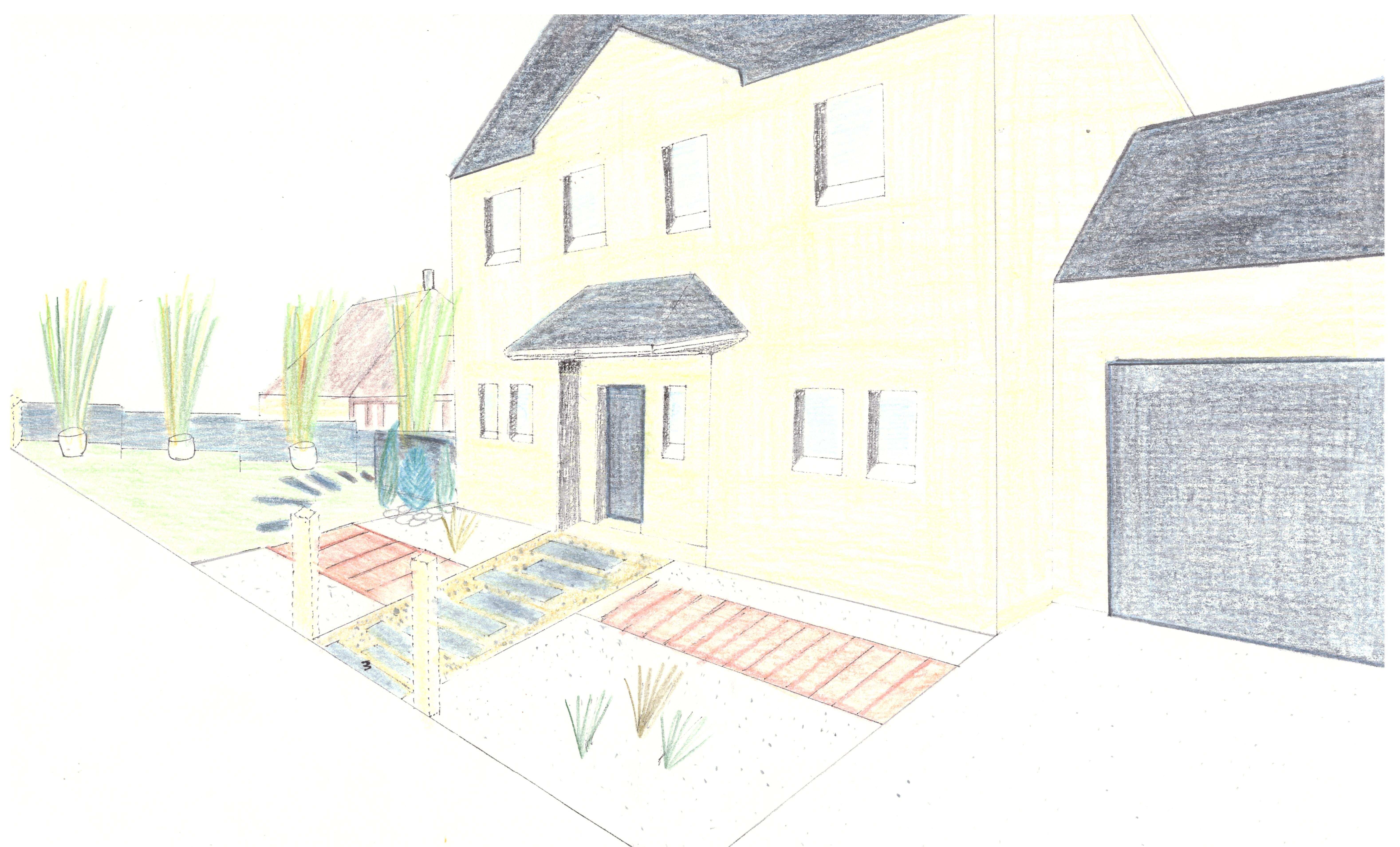 Perspective jardin de façade
