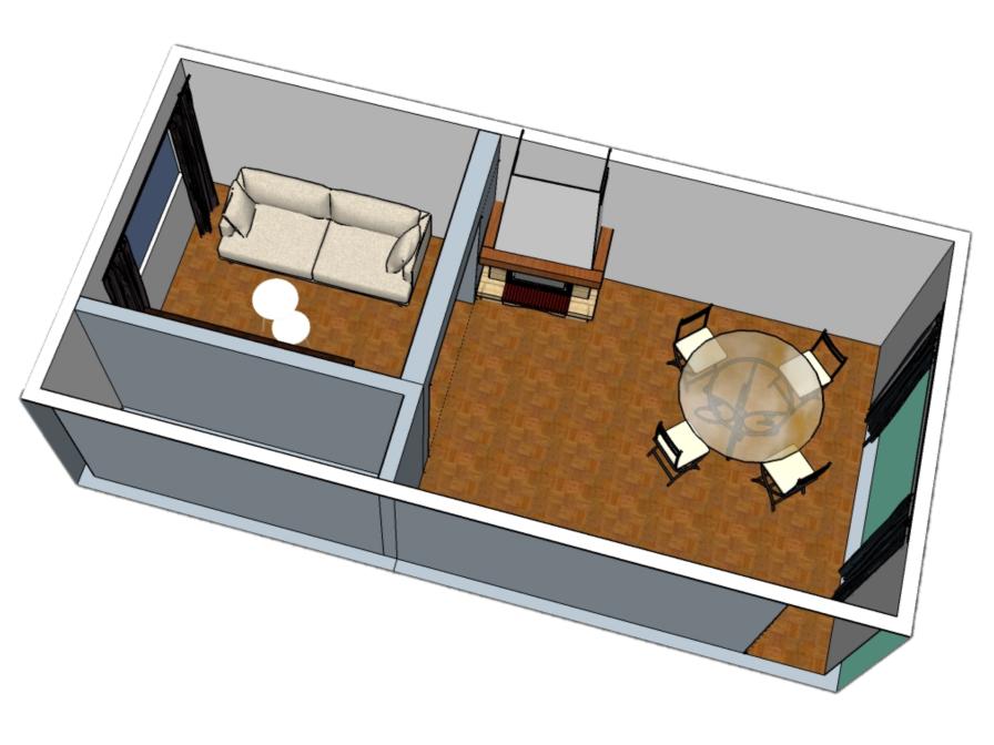Perspectives 3D salon salle à manger pour le futur acquéreur