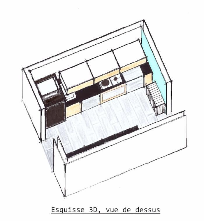 Esquisse 3D Rénovation Cuisine vue de dessus by Décoration et Jardins